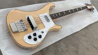Wholesale bass guitar woods online – design 4 Strings BASS Natural Wood Electric Bass Guitar Neck Thru Body Good Binding Body Dual Output China ric Bass