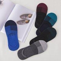 erkekler için iş çorapları toptan satış-No Show Çorap Erkek Low Cut Pamuk kaymaz Atletik Iş Gizli Kaymaz Kavrama ile Daireler için Tekne Yaz Çorap Görünmez Toptan
