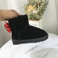 Wholesale girls character shoes resale online - Toddlers Snow Boots Designer Kids Shoes Genuine Leather Booties with Big Bow Cartoon Character Style Snow Boots for Girls High Quality Botas
