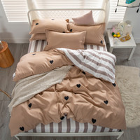 Wholesale queen hearts bedding king resale online - home textiles Bedding Sets luxury lovly Heart Pattern bed linens for home bedclothes Duvet Cover set Quilt cover Queen king size