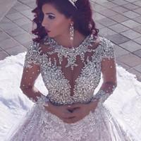 noiva robe mariage großhandel-L2019 New atest Oansatz Langarm Ballkleid Brautkleider Brautkleider Perlen Kristalle Vestidos De Noiva Brautkleider Robe De Mariage