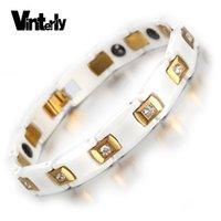 zircônia cerâmica china venda por atacado-Vinterly das mulheres de ouro-cor cz pulseira de pedra saúde energia hematita pulseiras de cerâmica pulseiras para as mulheres jóias j190722