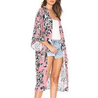 пляжная одежда для женщин оптовых-Feitong Fashion Women Blouses Chiffon Shawl Print Kimono Cardigan Cover Up Blouse Beachwear Shirt Casual Tops Blusas Femininas