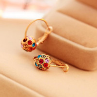 Wholesale rotating beads for sale - Group buy Pretty Earrings for Women Fashion pair Women Rotate Lucky Beads Crystal Rhinestone Ear Stud Earrings