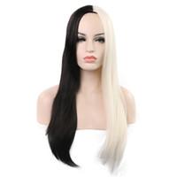 en sıcak kadın peruk toptan satış-2019 Euro-Amerikan sıcak satış yarım siyah ve beyaz renk kadın orta uzun düz peruk ile iyi kalite