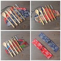palillos portátiles al por mayor-Set de cubiertos de bambú portátil Cubiertos Cuchillo Tenedor Cuchara Establece paja palillos del vajilla del Estudiante Viajes de vajilla ZZA1524