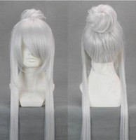 Wholesale white anime wig resale online - FREE SHIPPIN Silvery white costume steamed stuffed bun cosplay anime wigs