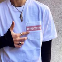 cüzdan erkek gömlekleri toptan satış-19SS Örgü Şerit Cep Tee Kutusu logosu Moda Erkek Kadın Yaz Pamuk T-shirt Kaykay Rahat Kısa Kollu HFLSTX393