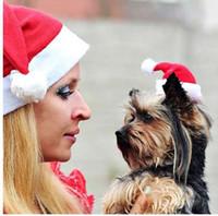 chapéu quente de estimação para o inverno venda por atacado-Suprimentos para animais de estimação de Natal de Pelúcia Cap Dog Pet Cat Dog Natal Papai Noel Inverno Quente Xmas Party Kiten Cachorro Chapéu