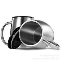 taza de pared doble de acero camping al por mayor-Taza de café de acero inoxidable de 14 oz con tapas 14 oz café de doble pared con aislamiento de cerveza tazas de té taza de camping de viaje al aire libre con asa ZZA1081