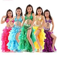indische bollywood kleider großhandel-Dancewear Kinder Bauchtanz Kostüm Set Indian Dance Kostüme Bollywood Kinder Kleider Indian Kostüme Kleid