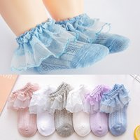 Wholesale girls ruffled lace socks for sale - Group buy 2019 Summer Breathable Cotton Lace Ruffle Princess Mesh Socks Children s Ankle Short Sock White Pink Yellow Baby Girls Kids Toddler