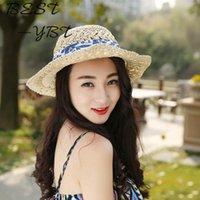фарфора соломы оптовых-Корейская летняя новая сине-белая фарфоровая шапочка из соломенной кожи с защитой от ультрафиолетовых лучей