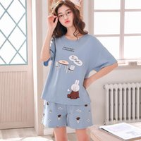 Wholesale pajama cotton for women for sale - Group buy MISSKY Women Pajama Sets Short Sleeve Lovely Pattern Soft Cotton Home Suit Female Clothes Sleepwear For Summer