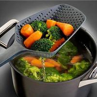 suministros de vegetales al por mayor-Nuevo estilo Colador Sopas Cucharas Plástico de nylon Colador de verduras Cuchara Colador grande Sopa Filtro Suministros de cocina