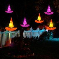 luces colgantes de batería al por mayor-Decoración de Halloween que brilla con luz colgantes sombrero de la bruja con pilas para la decoración de la yarda del partido del árbol accesorios de Halloween del traje JK1909