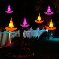 ingrosso le luci appese alla batteria-Decorazioni di Halloween Hanging illuminato Glowing Witch Hat Battery Operated per Yard Albero partito puntelli della decorazione di Halloween Costume JK1909
