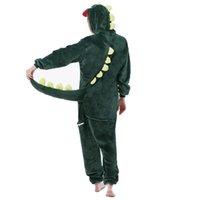 yetişkin dinozor pijama toptan satış-Yeşil dinozor Pijama Setleri Kış Karikatür Pijama Dikiş unicornio Pijama Kadın Erkek Unisex Yetişkin Pazen Nightie Kigurumi