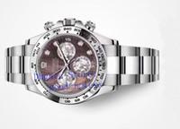 relógios a quartzo diamante venda por atacado-Automatic Relógios Chronograph Watch Cal.4130 Branco Brown Mãe dos homens Top Of Pearl Diamond Dial 116509 Homens Eta Cosmograph Esporte Relógios de pulso