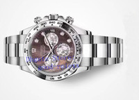 diamant-armbanduhr großhandel-Top Herren Automatikuhren Chronograph Cal.4130 Weiß Braun Perlmutt Diamond Dial 116509 Männer Eta Cosmograph Sport Armbanduhren
