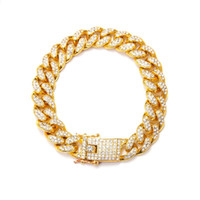 Wholesale bracelet 12mm wide for sale - Group buy 3pcs European and American fashion domineering MM Wide Mens Iced Out Cuban Link Bracelet k Gold Plated Men Birthday Party Gift C