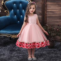 Wholesale red wedding frocks resale online - 2020Girl s frock dress with flowers at thebottom Baby s first year christening clothes lovely very comforbable a bow ontheback