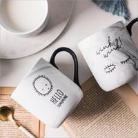 ücretsiz çin bardak toptan satış-Kemik çini kupa mat mermer doku tasarım kahve kupa, seramik çay bardağı cafe kupa süt fincan sağ kupalar ücretsiz kargo hediyeler
