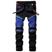 новые желтые джинсы для мужчин оптовых-New Men Jeans 2017 New Biker Slim Fit Pantchwork Fold Jeans Men Denim Luxury Blue Red Yellow Locomotive Zipper Male Pants
