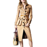 gabardina europea de las mujeres al por mayor-2019 Nueva Marca Mujeres Trench Coat Long Windbreaker moda europea Trench Coat para mujeres abrigo Outwear Casaco feminino LJ18