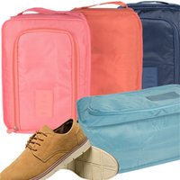 Wholesale shoe bags for travel resale online - Travel Foldable Waterproof Shoes Bag Portable Handle Shoe Storage Pouch Bag Home Dustproof Solid Shoes Bag For Storage Organizer BH1655 TQQ