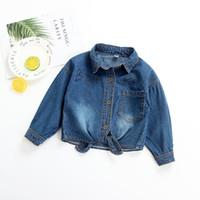 Wholesale 0 EW foreign trade children s wear autumn European and American girls denim shirt sand wash retro wind denim shirt