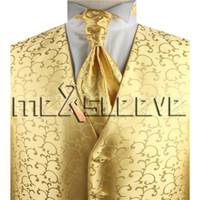9bc3ba0434605 gilet de tourbillon en polyester doré avec expédition gratuite (gilet +  cravate ascot + boutons de manchette + mouchoir)