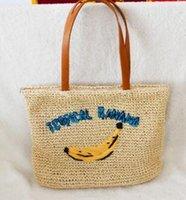 häkelhandtaschenmuster großhandel-1 große häkeln rattan handtaschen bananenmuster stroh tasche fashion square rattan tasche