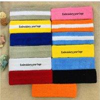 logo kafa bandı toptan satış-Çocuklar / Yetişkin Havlu Bantları Sizin Marka logo Dikiş Spor Başkanı Özel Embrodiery LOGO Ter Bandı Başörtüsü giyer