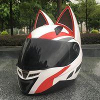 ingrosso caschi moto xxl-Casco del motociclo piena personalità del gatto dell'orecchio di modo Moto Moto Capacete 5 colori del casco del motociclo KKA6755
