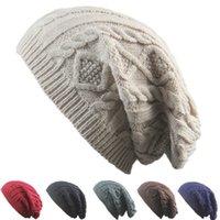 diseño de suéter multicolor al por mayor-Nuevo diseño de las mujeres Gorras tejidas Gorros Patrón de giro Color sólido Mujeres Sombrero de invierno Suéter de punto Sombreros de moda ZZA876