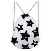 haversack bags toptan satış-THIKIN Yıldız Baskı Kızlar için Seyahat İpli Çanta Haversack Moda İşlevli Ayakkabı Kadınlar Alışveriş Sırt Çantası Omuz Çantaları