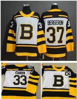 nhl boston toptan satış-2019 Kış Klasik NHL Boston Bruins Jersey Gençlik 33 Zdeno Chara 37 Patrice Bergeron Çocuk Boys Otantik Dikişli Buz Hokeyi Formalar