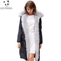 dicker weißer pelz-luxusmantel großhandel-Luxus Winter Daunenjacke Frauen Plus Größe Lange Dicke Warme 90% Weiße Ente Daunenmantel Weibliche Große Echt Fox Pelzkragen Parka Jacke