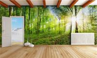 hayat resimleri toptan satış-Özel 3D Fotoğraf Kağıdı Duvar Oturma Odası Yatak Odası Kanepe TV Zemin duvar Fantezi Orman Manzara Resim Duvar Kağıdı Sticker Ev Dekor
