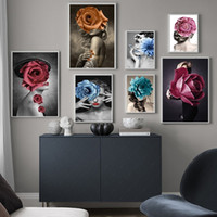 Wholesale nude art oil paintings for sale - Group buy Fashion Flower Woman Portrait Figure Oil Painting Sexy Nude Girl Poster Prints Abstract Creative Wall Art Picture for Living Room Decor