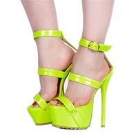 ingrosso grande bello sexy-Legzen Sandali con tacco SUPER Sexy Sandali con tacchi alti con plateau Beautiful Club Scarpe casual da party per donna Big Size 4-20