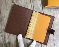 Wholesale star gift bags resale online - 7 Stars Top Quality Designer Brown Grid Cowhide Leather Agenda Address book or Notepad Cover Bag ID Card Holder Ring Notebook Gift Box Paper