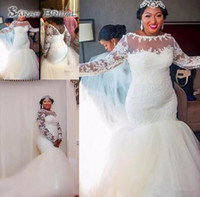 Wholesale tulle jewel neckline wedding dress online - African Plus Size Wedding Dresses Sheer Neckline Lace Appliques Mermaid Wedding Dress Long Train Zipper Long Sleeves Bridal Gowns