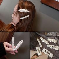 ingrosso belle perle-2019 DONNA perla parola clip di capelli ragazza accessori per capelli copricapo bella forcelle ornamento di capelli 4 pezzi set