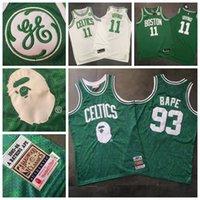 yeşil mayo kumaş toptan satış-Erkek Yol swingman BostonCeltics Basketbol 11 Kyrie Irving Jersey Vintage Mitchell Ness Yoğun AU Kumaş Formalar Yeşil