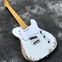 Wholesale electric guitar neck part resale online - Handmade Heavy Relic Electric guitars with ASH Body White Color Relic Guitarra Maple Neck Aged Guitar parts