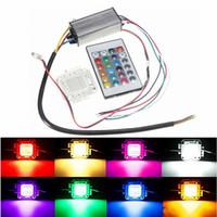 ip66 led sürücüsü toptan satış-10 W 20 W 30 W 50 W 100 W RGB LED Çip Işık Ve Su Geçirmez IP66 LED Sürücü Güç Kaynağı Adaptörü Trafo Uzaktan Kumanda AC85-265V