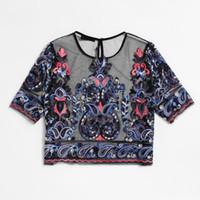 camisa de flores negras de las mujeres al por mayor-Bordado de flores de malla Blusa Vintage Sexy Crop Top 2018 Mujeres Semi Sheer Boho Tops negro camisa de manga corta blusa delgada túnica