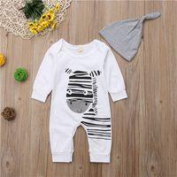 tenues zebra tutu achat en gros de-Bébé Garçon Filles Zèbre Vêtements Enfant Enfants Barboteuse À Manches Longues Infantile Combinaison Chapeau Tenue Automne Coton Garçon